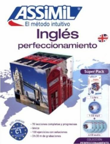 Inglés Perfeccionamiento, Assimil (pack con CD audio y MP3). Adecuado para pasar de B2 de inglés a C1. Muy cuidado, opiniones muy positivas.