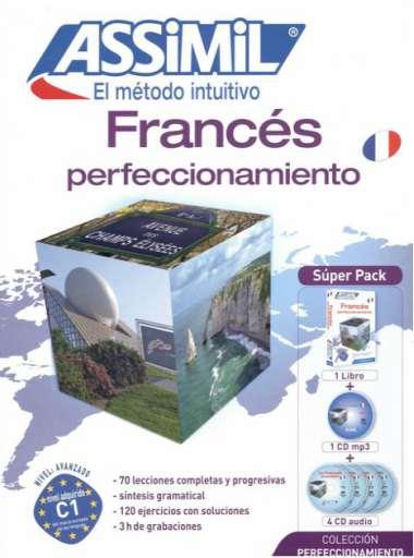 Francés Perfeccionamiento, Assimil (pack con CD audio y MP3). Fenomenal para pasar de un francés A1 a un B2. Opiniones positivas para cada Assimil francés.