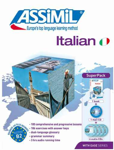 Italian With Ease, Assimil (pack con CD audio e MP3) in base inglese. Assimil italiano ha recensioni positive.