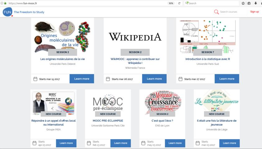 FUN France Université Numerique, piattaforma MOOC francese. Scelta di MOOC in inglese e francese su molti argomenti, nonché MOOC di ceco, arabo, cinese, francese basico, francese intermedio ed avanzato