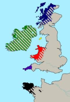 Hablar galés: Mapa de las lenguas célticas habladas hoy en día: galés, gaélico irlandés, gaélico escoces, manés o manx, córnico y bretón.