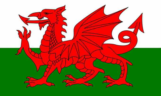 Bandera de Gales, país en el que se habla galés