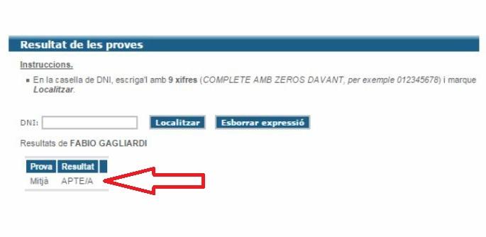 Risultato delle prove di valenciano, nel portale della JQCV, Junta Qualificadora de Coneixements de Valencià.