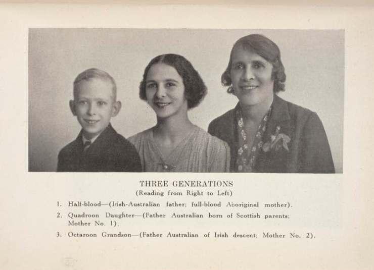 La infame imagen publicada en un libro de Neville de 1947, Australia's Coloured Minority, detallando como en tres generaciones se podían erradicar la sangre aborigen.