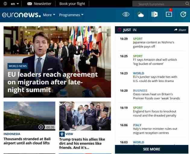 Aprender inglés de cero: Homepage de Euronews, versión en inglés