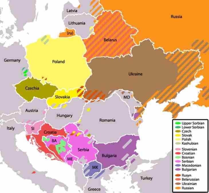 Mapa de idiomas eslavos, croata incluido