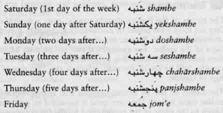 Estudiar persa: los días de la semana