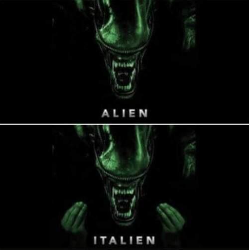 Parlare italiano trasforma un alien in un italien.