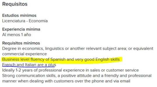 Idiomas en el trabajo