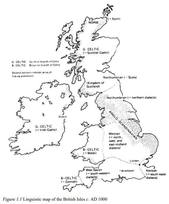 Mapa Linguistico: aprender inglés antiguo