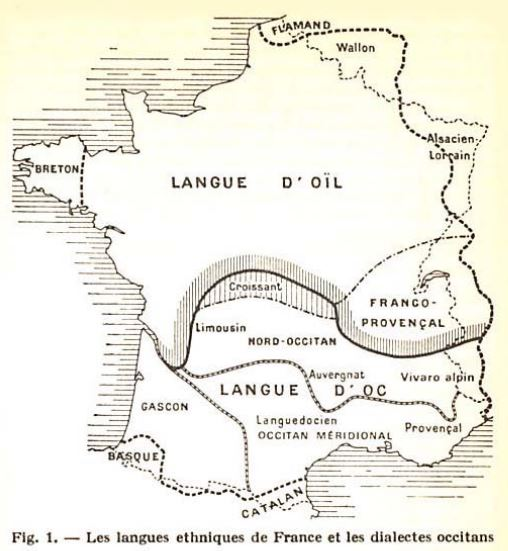 Mapa de Occitania: Lengua occitana abajo, lengua d'oil arriba