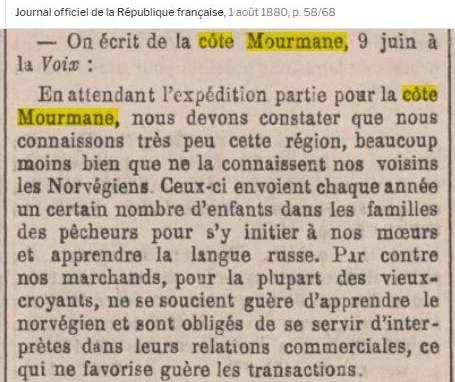 Múrmansk russenorsk 1.8.1880