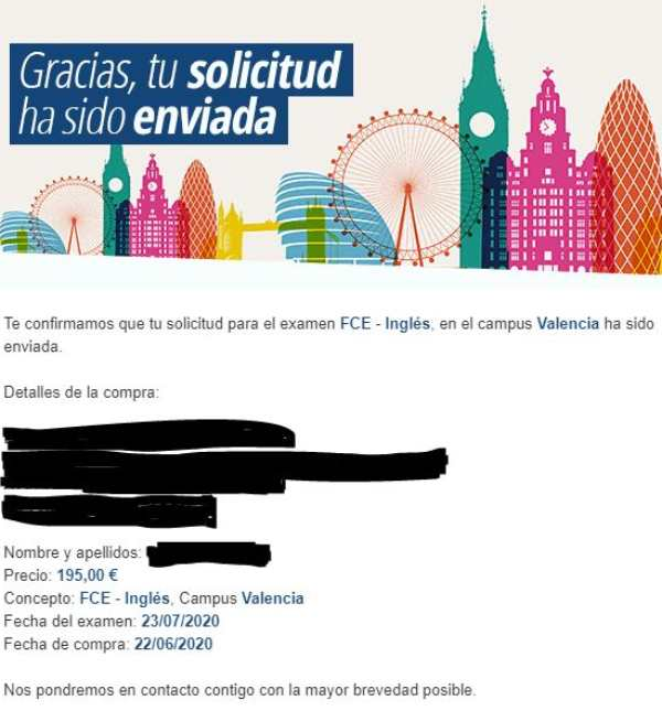 First Certificate in English: confirmation email.
