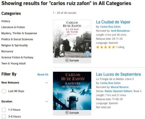Carlos Ruíz Zafón on audiobooks